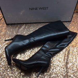 Nine West Black Tall Heeled Boots 6.5M